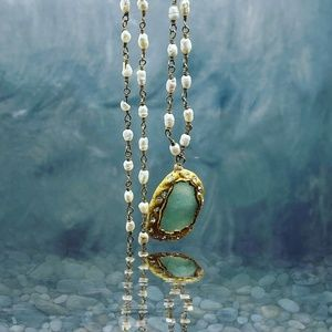 Matana handmade Pavé blue druzy & pearls necklace